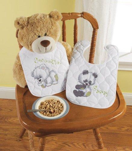 Bucilla Baby 45611 Stamped Cross Stitch Quilted Bib Pair Kit, Rocking Horse Bears