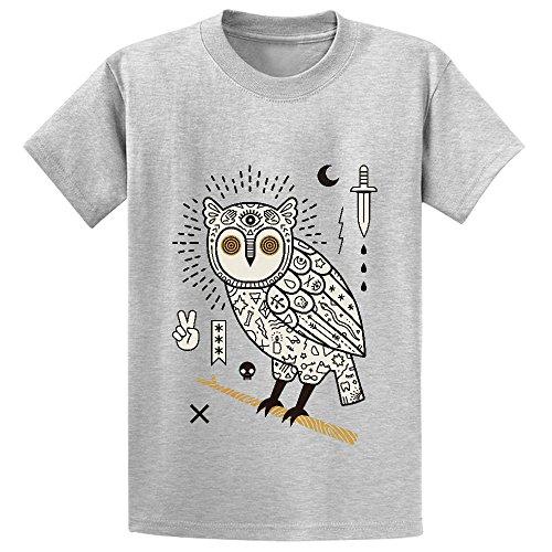 Hypno Owl Unisex Crew Neck Graphic T Shirts - Mens Jeans Vuitton Louis
