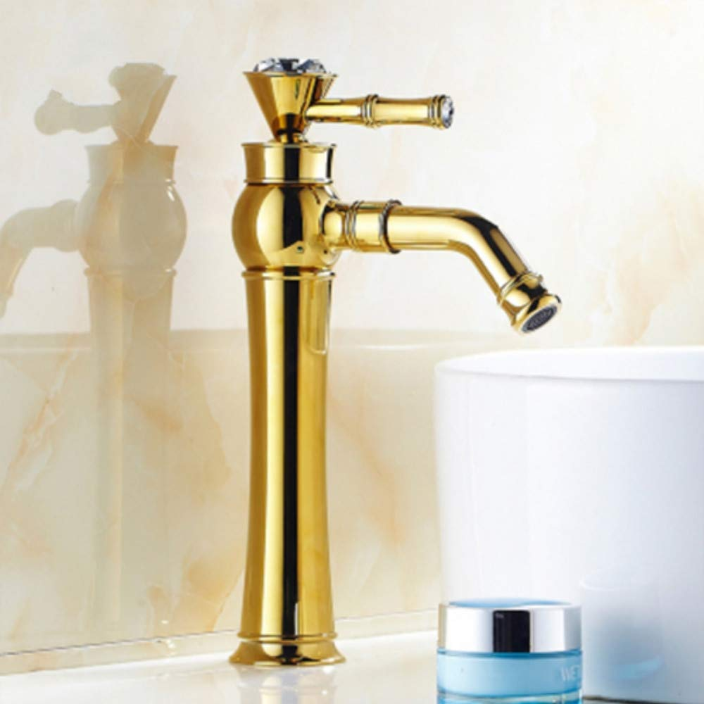 Lddpl Classic Beautiful Deck Mounted Single Handle Counter Top Basin Faucet gold Brass Hot and Cold Water Bathroom Mixer Taps