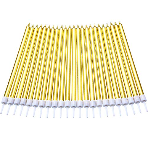 Blulu 50 Pieces Long Thin Metallic Birthday Cake Candles in Holders for Birthday Wedding Party Cake Decorations (Gold)