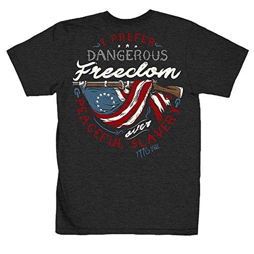 1776 United Dangerous Freedom Men's T-Shirt, Color Heather Charcoal, Size L ()