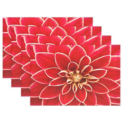 Promini Heat-Resistant Placemats, Beautiful Red Dahlia Flower Washable Polyester Table Mats Non Slip Washable Placemats for Kitchen Dining Room Set of 4