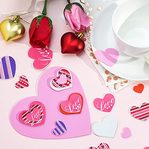 324 Pieces Foam Hearts 24 Pieces 6 Inches Valentines Large Craft Heart Decor 300 Pieces Small Foam Hearts Self Adhesive Hearts Stickers for Valentines Day Mothers Day DIY Crafts Blank