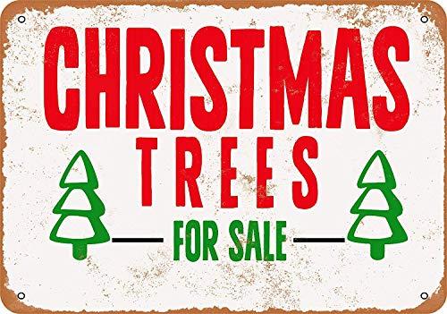 Vdisi Vintage Look Metal Sign - Christmas Trees for Sale Size 8x12 Inches (Christmas Trees For Vintage Aluminum Sale)