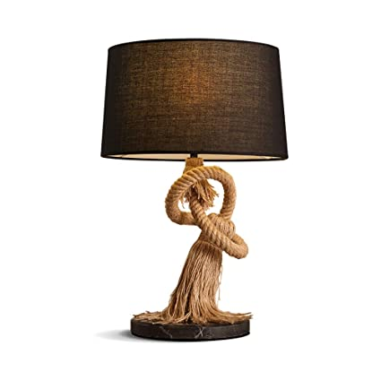 Charmant LED Table Lamp Country Wrought Iron Table Lamp, American Creative Fabric Table  Lamp Decoration Marble
