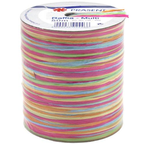Morex Ribbon Rayon Raffia Fabric Ribbon Spool, 55-Yard, Multi Color