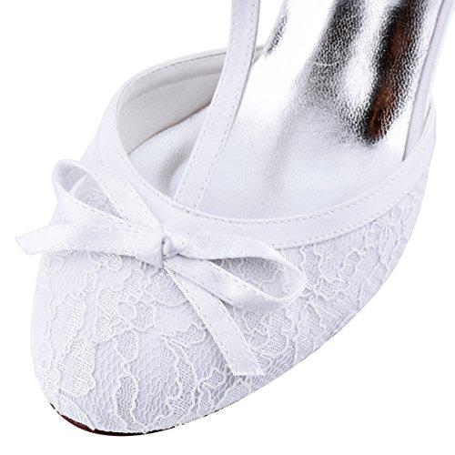 Stiletto Mujeres Zapatos boda HC1721 Encaje Hebilla corte Elegantpark Correa T Tacones altos de Cerrado novia Zapatos Arco de Blanco de q5tnwCR