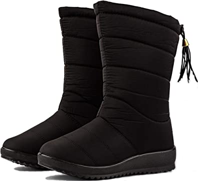 40e961c43e WENKOUBAN Women s Winter Warm Snow Boots Waterproof Fur Lining Mid Calf  Wedge Booties 10 Black