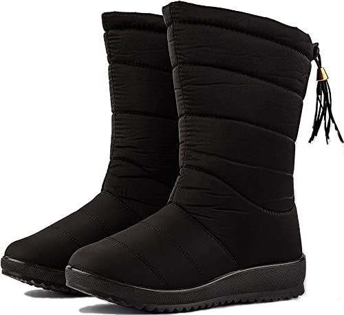 426bc316e4ee0 Image Unavailable. Image not available for. Color  WENKOUBAN Women s Winter  Warm Snow Boots Waterproof Fur Lining Mid Calf Wedge Booties 7 Black