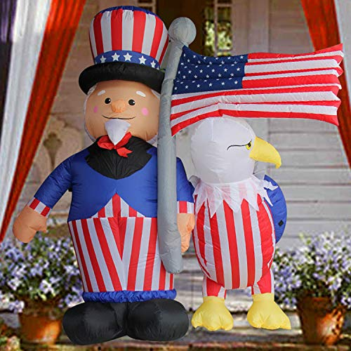 (SEASONBLOW 6 Ft Patriotic Independence Day/Flag Day Inflatable Uncle Sam with Eagle & American Flag Decorations 4th of July Home Yard Outdoor Indoor Decoration)