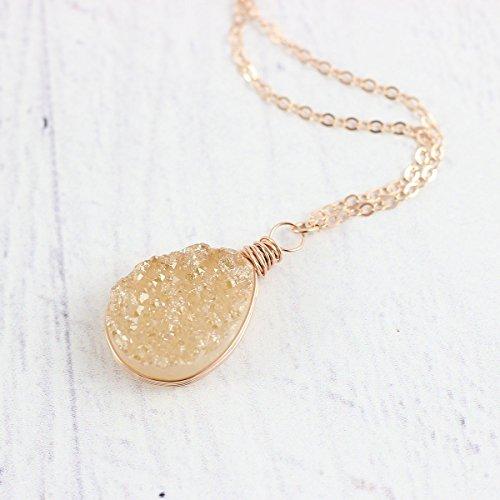Champagne Quartz Pendant - Champagne Druzy Rose Gold Pendant Necklace - 18