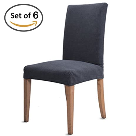 Scorpiuse Jacquard Stretch Dining Chair Covers Spandex Room Chairs Slipcover Protector Grey Set