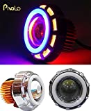 Pivalo Projector Lamp High Intensity LED Headlight Stylish Dual Ring COB LED Inside Double Angel's eye Ring ( Red & Blue) Lens Projector For - All Bikes