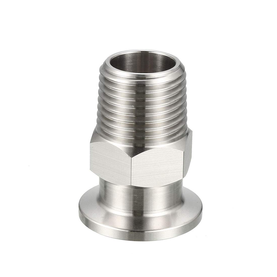 uxcell Sanitary Pipe Fitting KF16 Male Threaded 1//2 PT to Clamp OD 30mm Ferrule