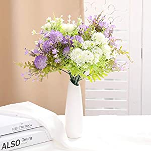 The Bloom Times Artificial Flowers Stems, 4 Bundles Fake Plastic Plants with Flower Floral Arrangement, Faux Bouquets Hanging Planter Filler for Wedding Home Office Farmhouse DIY Indoor Outdoor Decor 4