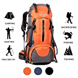 ONEPACK 70L Internal Frame Hiking Backpack with Rainfly (65+5L) Backpacking Bag with Waterproof