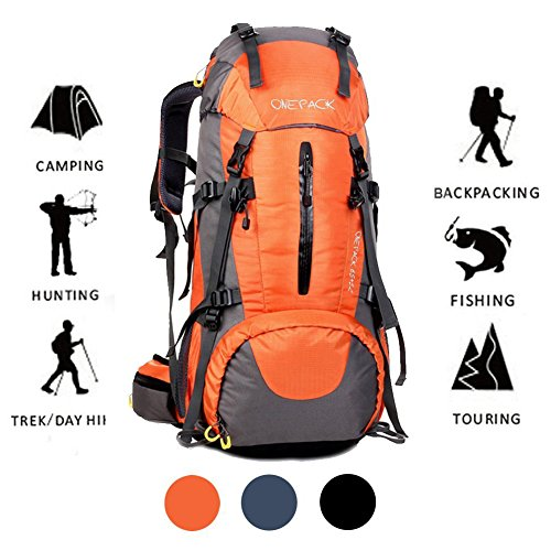 ONEPACK 70L Internal Frame Hiking Backpack with Rainfly (65+5L) Backpacking Bag with Waterproof Rain Cover for Mountaineering Camping Outdoor Travel (70L Orange)