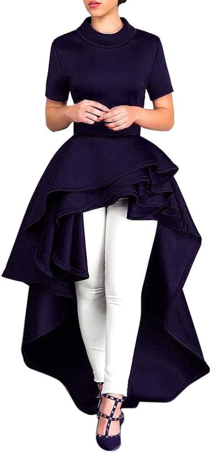 Elecenty Damen Asymmetrisch Cocktailkleider Irregulär Abendkleider Bodycon  Solide Sommerkleid Rock Mädchen Kleider Frauen Kurzarm High Low Peplum