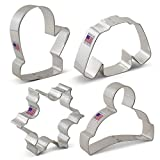 Winter / Christmas Cookie Cutter Set - 4 Piece - Snowflake, Sweater, Mitten and Winter Hat - Ann Clark Cookie Cutters - US Tin Plated Steel