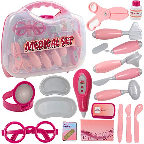 Dr kit for kids, 18PCS Toy Medical Kits Doctor Toys Set, Simulation Medicine Box Doctor Nurse Medical Kit With Carry Case, Pretend Play Set