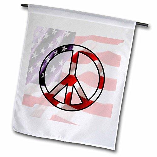3dRose Janna Salak Designs Patriotic - American Flag Peace - 12 x 18 inch Garden Flag (fl_12151_1)