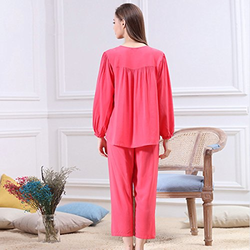 Sra. De Manga Larga Pijamas Chándal Resorte Traje De Una Pieza Pink