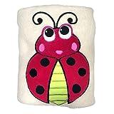 Sozo Baby Boys Ladybug Snuggle Blanket, Tan/Red/Black, One Size