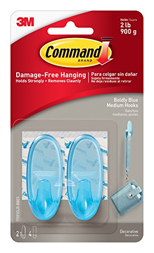 Command 17091CLR-BBES Boldly Blue, 2 Medium Hooks, 4 Clear Strips/Pack