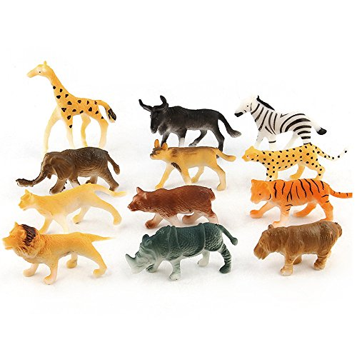 (Kiorc 12pc Kids Childrens Assorted Plastic Toy Wild Animals Jungle Zoo Figure)