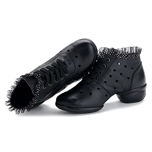 Damen luftdurchlässig Tanzschuhe jazzdance Schuhe Dance Sneaker Yoga Websneaker Sport & Outdoor Schuhe Fitness Schuhe Schürschuh Turnschuh Schwarz