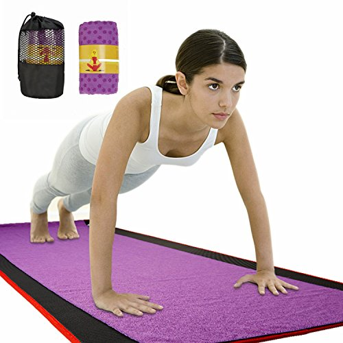 Yoga Towel, Non-Slip Bikram Hot Yoga Towel – Super Absorbent and Soft, Skidless, Ideal for Hot Yoga & Pilates (Purple)