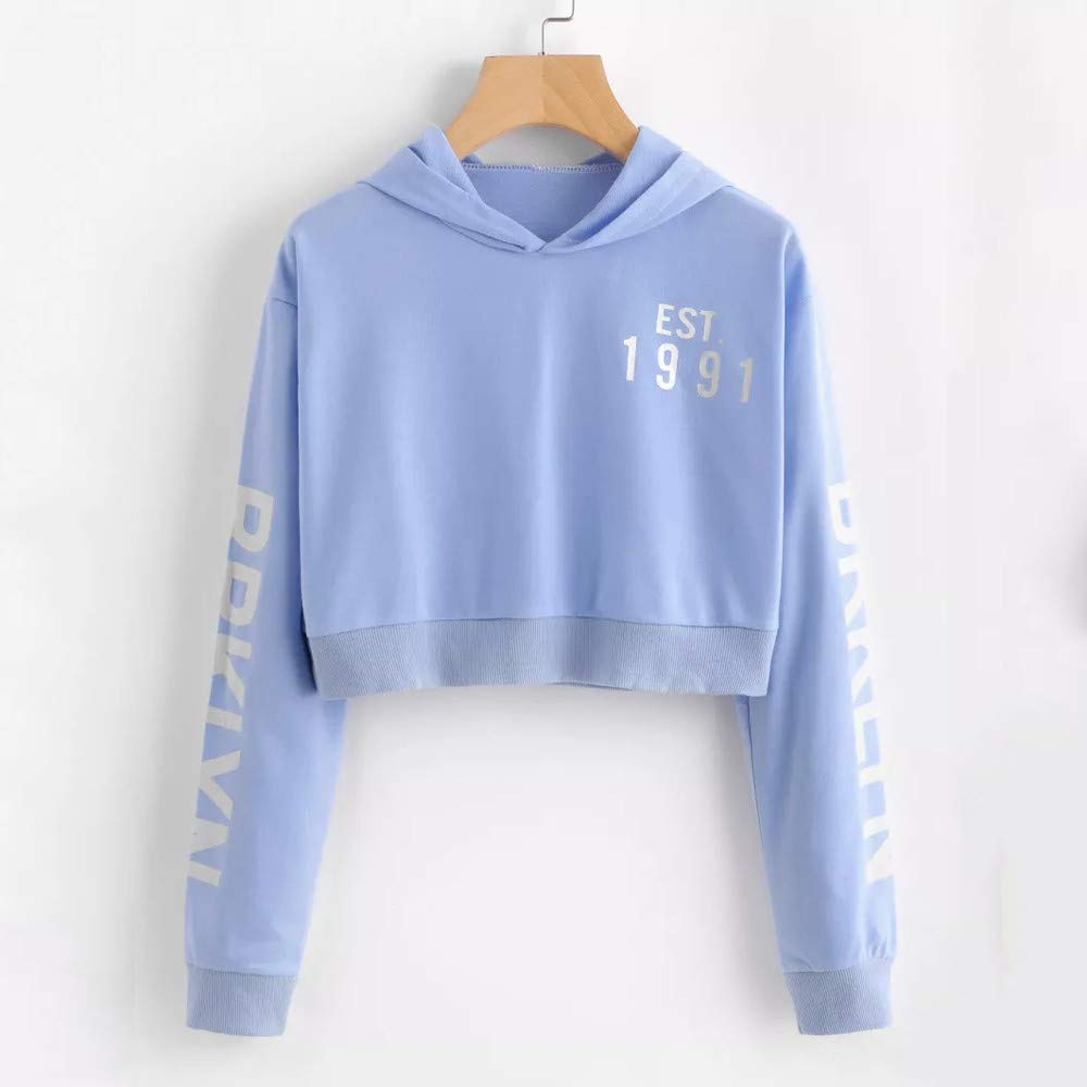 Clearance! Teresamoon Womens Letters Long Sleeve Hoodie Sweatshirt Pullover Tops Blouse at Amazon Womens Clothing store:
