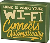 """Questionables Funny Tabletop Wood Block Sign """"Home is Where..."""""""