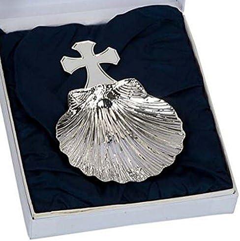 AA0971 Concha bautismo plata ley 925m cruz beb/é 14,5cm.