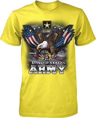 - US Army, Since 1775, Eagle with American Flag Wings Men's T-shirt, NOFO Clothing Co. M Yellow