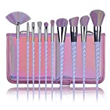 Lospu HY 10pcs Makeup Brushes Set Professional Makeup Tools Cosmetic Powder Foundation Brush Eyeshadow Blusher with Travel Pouch