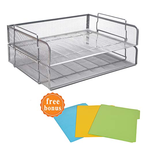2 Tier Paper Letter Tray Desk Organizer with Bottom Support Frame Stackable Desktop File Document Organizer Metal Mesh Collection Office Desk Accessories with 3Pcs File Folders,Horizontal ()