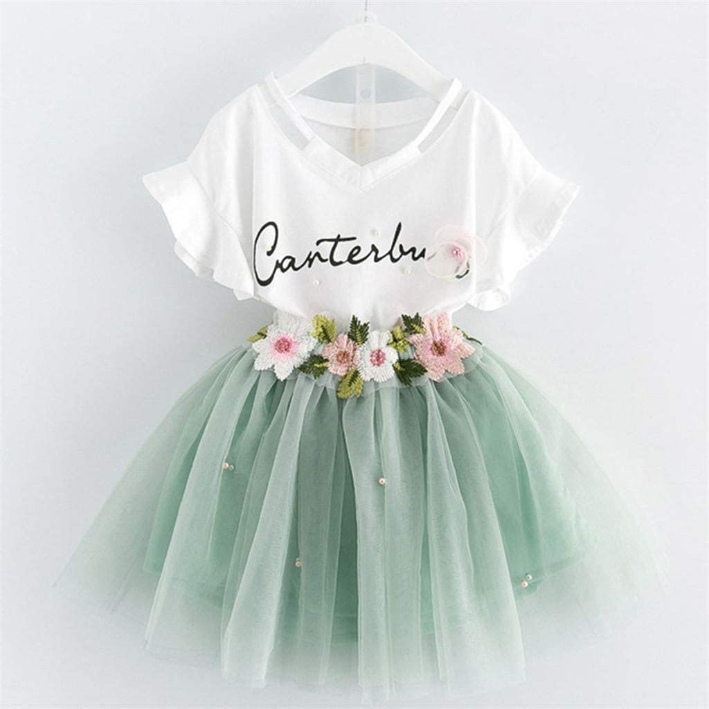 Yaseking Summer Infant Baby Kid Girl Cotton Short Sleeve T-Shirts Lace Floral Tutu Skirts Outfits Set