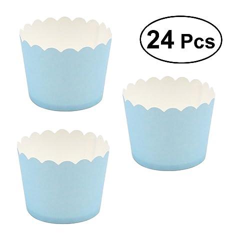 BESTONZON - 24 moldes de papel para magdalenas, moldes para magdalenas (color azul claro