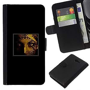 KLONGSHOP // Tirón de la caja Cartera de cuero con ranuras para tarjetas - Retrato de la cara de la mujer Ojos Pintura arte de la muchacha - Sony Xperia M2 //
