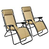 Zero Gravity Chairs Case Of (2) Tan Lounge Patio Chairs Outdoor Yard Beach New , Tan