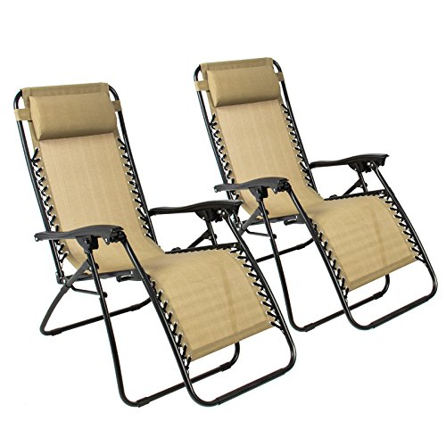 Zero Gravity Chairs Case Of (2) Tan Lounge Patio Chairs Outdoor Yard Beach New , Tan (Sale On Chairs)