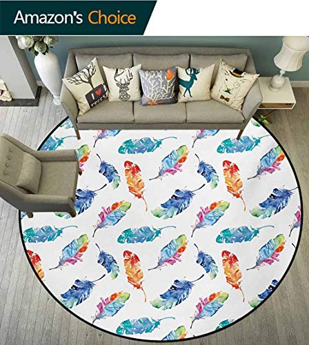 RUGSMAT Feather Round Kids Rugs,Watercolor Bird Feathers with Soft Color Palette Native American Inspirations Print Learning Carpet Non Skid Nursery Kids Area Rug for Playroom,Diameter-47 Inch
