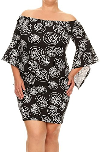 Womens Plus Size Print,Short Dress With Off The Shoulder Sleeves MADE IN USA – 1X Plus, Black-White Rose