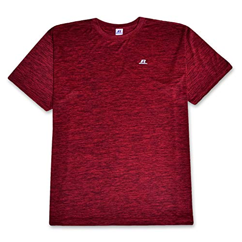 (Russell T Shirt for Mens Big and Tall Performance Moisture Wicking Short Sleeve Crew Neck Tee Shirt Red Heather 3X)