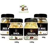 NatureSack-The Best Of Nature DIY Skin Care Combo Unrefined Raw Cocoa and Shea Butter and Beeswax Cubes (100gmx3) - Pack of 300gm