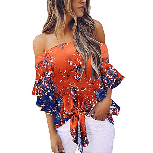 Women Cold Shoulder Blouse Floral Knot Tie Front Chiffon Shirt Flare Sleeve Tops ()