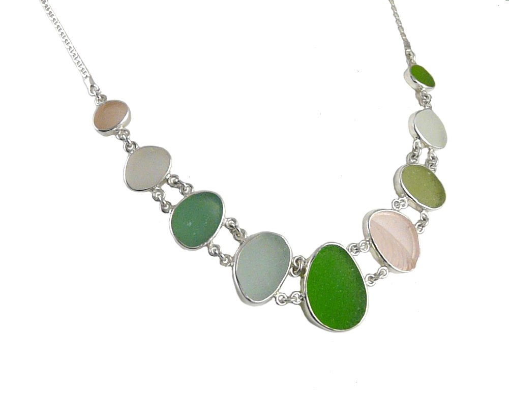 Sea Glass & Sterling Silver Double Link Necklace by Jessica Lee Designs