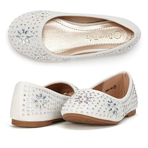 Dream Pairs NINA-100 Mary Jane Rhinestone Embelishment Slip On Versatile Ballerina Flat (Toddler/ Little Girl) New ,White(2)