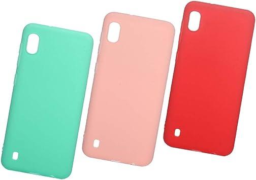 3 x Funda para Samsung Galaxy A10, Color Sólido Silicona Carcasa Estuche Suave para Hombres Mujeres Delgado Softcase Cáscara Parachoque TPU Cubierta del Teléfono Móvil, Rojo, rosa, verde menta.: Amazon.es: Electrónica